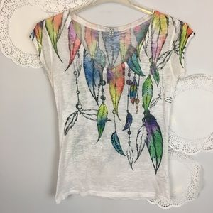 COACHELLA FEATHER TOP GYPSY BOHO VINTAGE BURNOUT